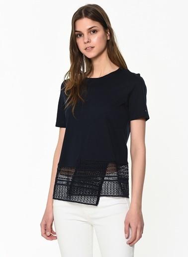 Tommy Hilfiger Kadın Elfıe Lace Top Ss Tişört WW0WW24905 Renkli